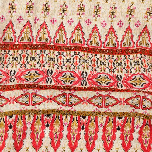 Geometrical Print Pink, Cream and Multi Colour Kimono (Size 95x88 Cm)