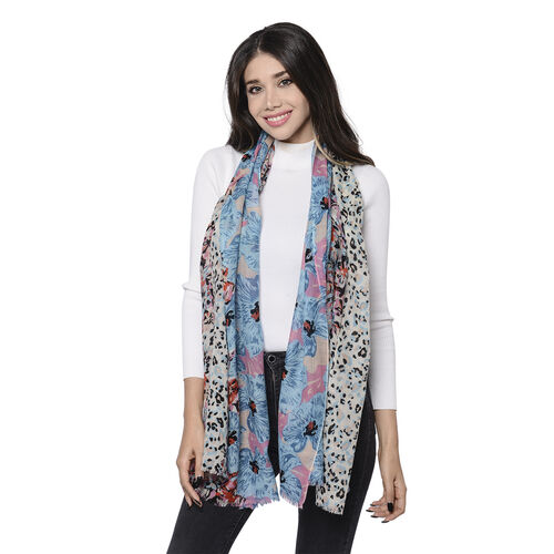 100% Merino Wool Leopard and Floral Pattern Scarf (Size 65x180cm) -  Blue and Multi Colour