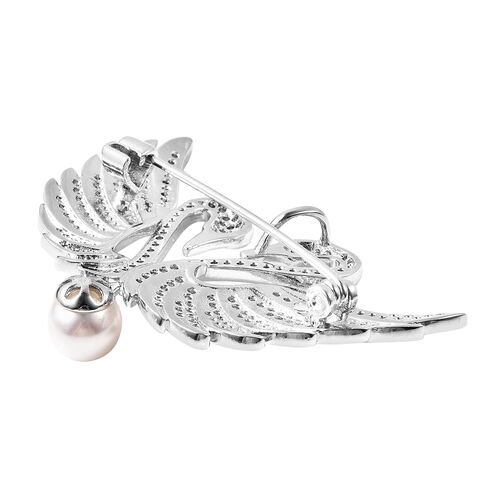 White Shell Pearl Simulated Diamond and Simulated Emerald Swan Couple Brooch or Pendant in Silver Tone