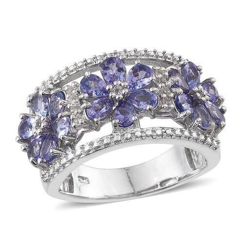 Tanzanite (Pear), White Topaz Floral Ring in Platinum Overlay Sterling Silver 2.870 Ct.