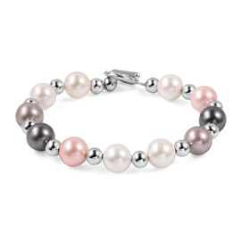 Mega Day Special- Multi Colour Shell Pearl (Rnd 11-9 mm), White Austrian Crystal Beads Bracelet (Size 8) in Silver Plated