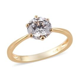 J Francis 14K Gold Overlay Sterling Silver Solitaire Ring Made with SWAROVSKI ZIRCONIA