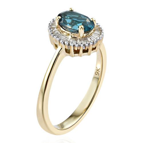 9K Yellow Gold AAA London Blue Topaz (Ovl 0.850 Ct) Diamond Ring 1.000 Ct.