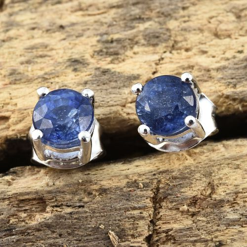 Masoala Sapphire (Rnd) Stud Earrings (with Push Back) in Sterling Silver 1.500 Ct.
