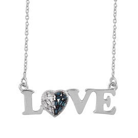 Diamond (Bgt) Love Necklace (Size 18 with 2 inch Extender) in Platinum Overlay Sterling Silver 0.050 Ct.