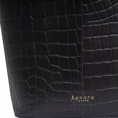 Assots London AMELIA Croc Leather Bucket Bag (35X13X34cm) - Black