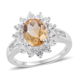Citrine (Ovl), Natural Cambodian Zircon Ring in Sterling Silver 3.00  Ct.