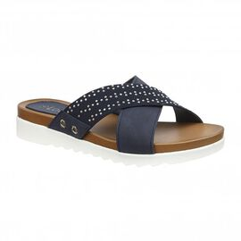 Lotus Navy Sharon Flat Mule Sandals