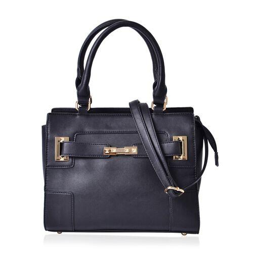 Set of 2 - Black Colour Large Handbag with Adjustable Shoulder Strap and Small Handbag (Size 33.5x29.5x12.5 Cm, 19.5x10 Cm)