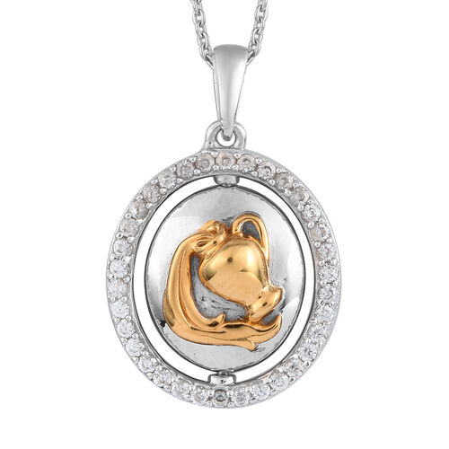 Natural Cambodian Zircon Zodiac-Aquarius Pendant with Chain (Size 20) in Yellow Gold and Platinum Ov