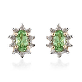 WEBEX- 9K Yellow Gold AA Tsavorite Garnet (0.57 Ct) Diamond Earrings (with Push Back)  0.685 Ct.