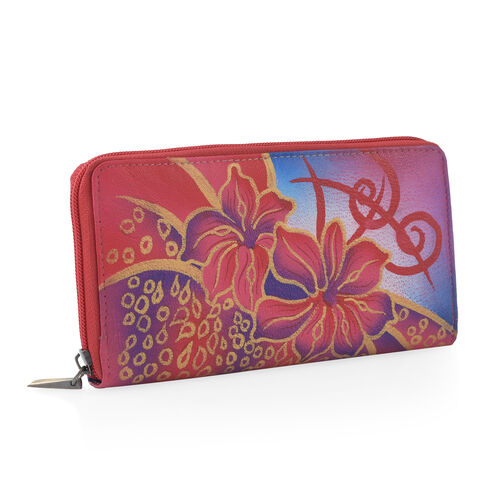 SUKRITI - 100% Genuine Leather Pink Colour  Lilly Flower Handpainted Wallet with RFID Blocking (Size 18.5x10x2 Cm)