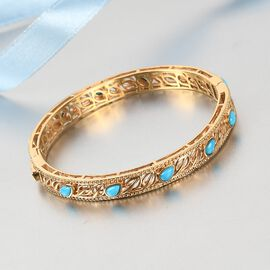Sleeping Beauty Turquoise Full Bangle in 14K Gold Overlay Sterling Silver 3.50 ct,  Sliver Wt. 19 Gms  3.500  Ct.
