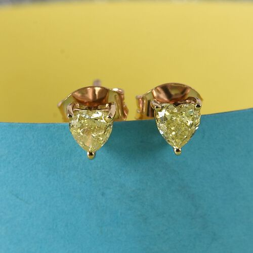 9K Yellow Gold Natural Yellow Diamond Heart Stud Earrings (with Push Back) 0.50 Ct.