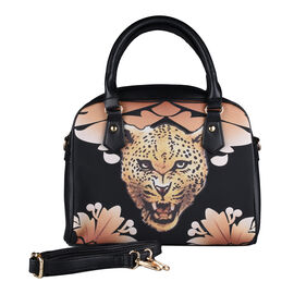 Close Out Deal- Leopard Head Pattern Tote Bag in Black (Size 29x23x8cm)