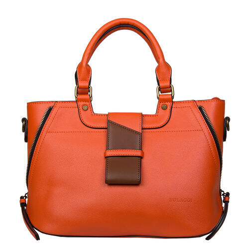 Bulaggi Collection - GOLDIE Handbag with Shoulder Strap and Zipper Closure (30x12x23cm) - Orange