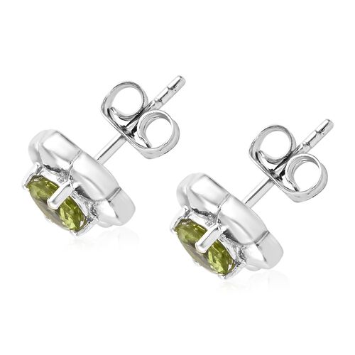 Chinese Peridot (1.25 Ct) Platinum Overlay Sterling Silver Earring  1.500  Ct.