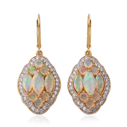 Premium Collection- Ethiopian Welo Opal (Mrq), Natural Cambodian White Zircon Lever Back Earrings in Yellow Gold Overlay Sterling Silver 4.740 Ct