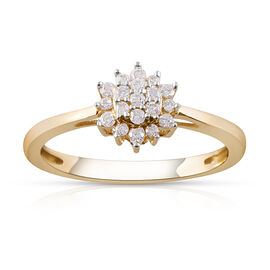 9K Yellow Gold SGL CERTIFIED Diamond (Rnd) (I3/G-H) Ring 0.200 Ct.