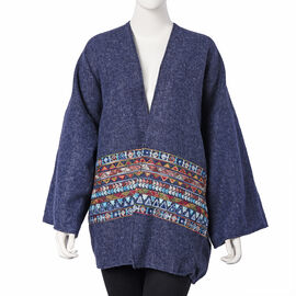 Navy Long-Sleeve Multicolour Embroidered Kimono (Size 72x80cm)