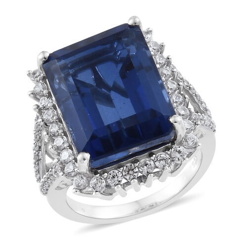 15 Ct Ceylon Colour Quartz and Zircon Halo Ring in Platinum Plated Sterling Silver 5.31 Grams