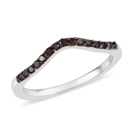 Red Diamond (Rnd) Wishbone Ring in Platinum Overlay Sterling Silver 0.15 Ct.