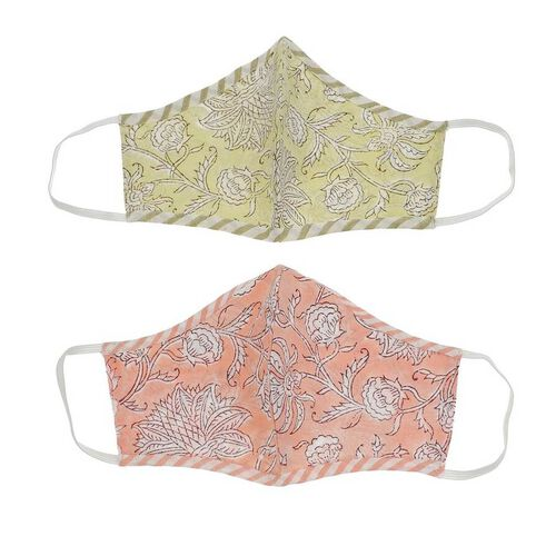 2 Piece Set - 100% Cotton Hand Block Print Double Layer Reusable Face Cover - Yellow and Peach
