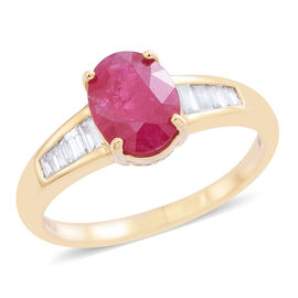 Signature Collection- ILIANA 18K Yellow Gold AAA Burmese Ruby (Ovl 2.00 Ct), Diamond Ring 2.250 Ct.