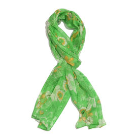 100% Mulberry Silk Green, Orange and Multi Colour Hand Screen Floral Printed Scarf (Size 180X50 Cm)