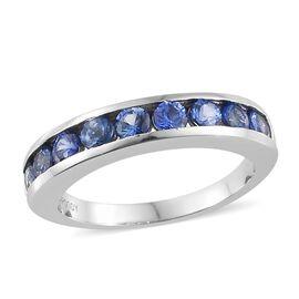 RHAPSODY 950 Platinum Royal AAAA Ceylon Sapphire (Rnd) Half Eternity Band Ring 1.000 Ct, Platinum wt 5.34 Gms