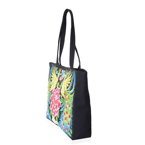 Shanghai Collection Multi Colour Flower and Peacock Pattern Tote Bag (Size 43x34x33.5x10 Cm)