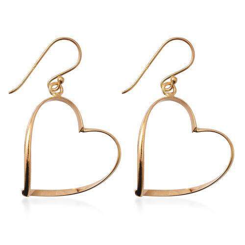 Yellow Gold Overlay Sterling Silver Heart Hook Earrings