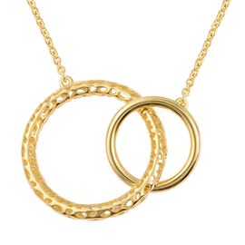 RACHEL GALLEY Allegro Circle Pendant with Chain in Gold Plated Sterling Silver 11.19 Grams 30 Inch
