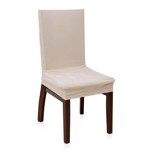 4 Piece Set - Luxury Crush Velvet Elastic Dining Chair Cover in Cream Colour (Size 87x38 Cm)