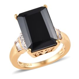 10 Carat Boi Ploi Black Spinel and Zircon Solitaire Design Ring in 14K Gold Plated Silver