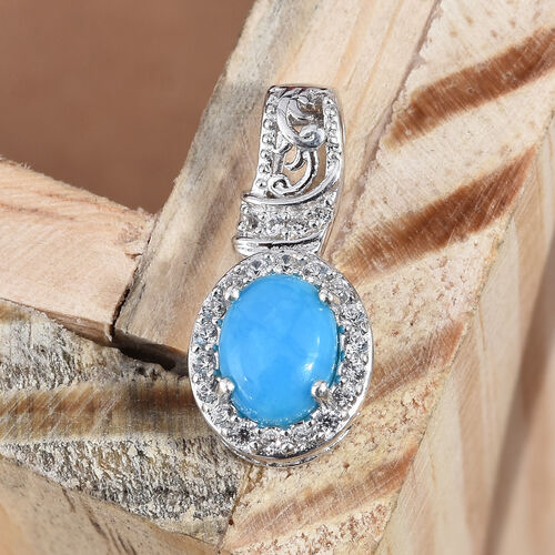 Arizona Sleeping Beauty Turquoise (Ovl 1.00 Ct), Natural Cambodian Zircon Pendant in Platinum Overlay Sterling Silver 1.250 Ct.