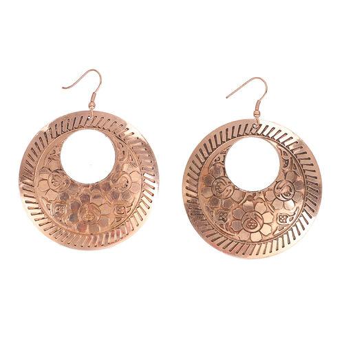 Etched Hook Earrings in Bronze Tone