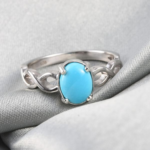 AA Arizona Sleeping Beauty Turquoise Solitaire Infinity Ring in Platinum Overlay Sterling Silver 1.1