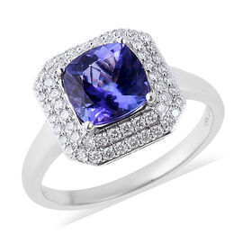 ILIANA 18K White Gold AAA Tanzanite (Cush 8x8mm), Diamond (SI/G-H) Ring 2.71 Ct.