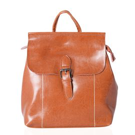 100% Genuine Leather Italian Tan Colour Backpack with External Zipper Pocket (Size 30x26x13 Cm)