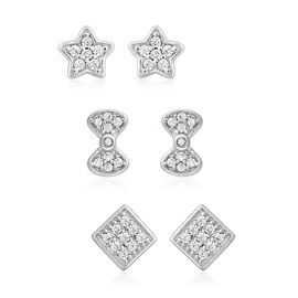 Set of  3 - ELANZA Simulated Diamond (Rnd) Square, Star and Bowknot Earrings in Rhodium Overlay Ster