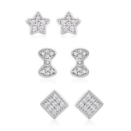 Set of 3 ELANZA Simulated Diamond Star and Bow knot Earrings in Rhodium Plated Silver