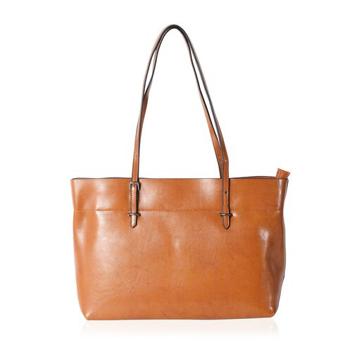 Close Out Deal 100% Genuine Leather Tan Travel Size Tote Bag with External Zipper Pocket (Size 43x37x27x11.5 Cm)