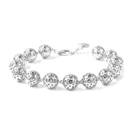 RACHEL GALLEY Globe Beaded Bracelet in Rhodium Plated Silver 21.38 Grams 8 Inch with Extender