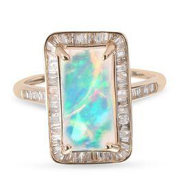 9K Yellow Gold Wegel Tena Opal and Diamond Ring 3.06 Ct.