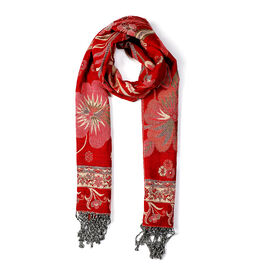 Paisley Floral Pattern Scarf (Size 70x200 mm) - Red