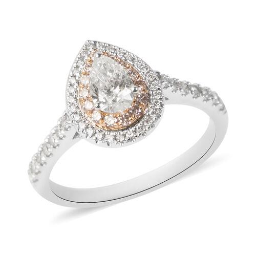 Manhattan Closeout- 14K White Gold GSI Certified White Diamond (I1/G-H), Natural Pink Diamond Ring 1