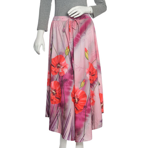 Poppy Flower Printed Flared Pink Skirt (Size 100x76 Cm)
