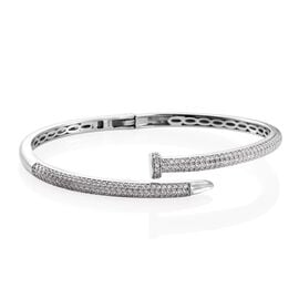 J Francis - Signature Collection Platinum Overlay Sterling Silver (Rnd) Nail Bangle (Size 7.5) Made