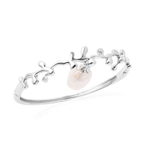 LucyQ Baroque Freshwater White Pearl Splash and Drip Design Bangle (Size 7.5) in Rhodium Overlay Ste